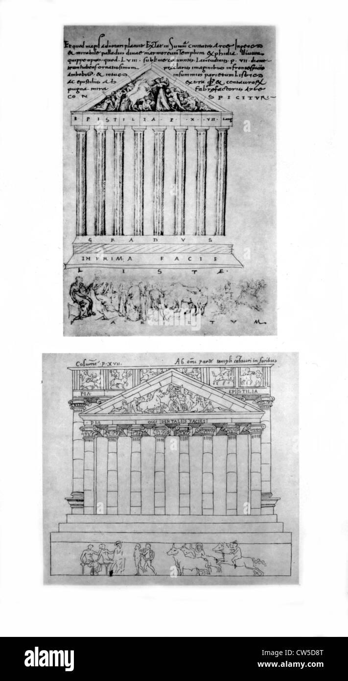 Drawings by Ciriaco of Ancona and San-Gallo. Athens, the Parthenon: west pediment - Stock Image