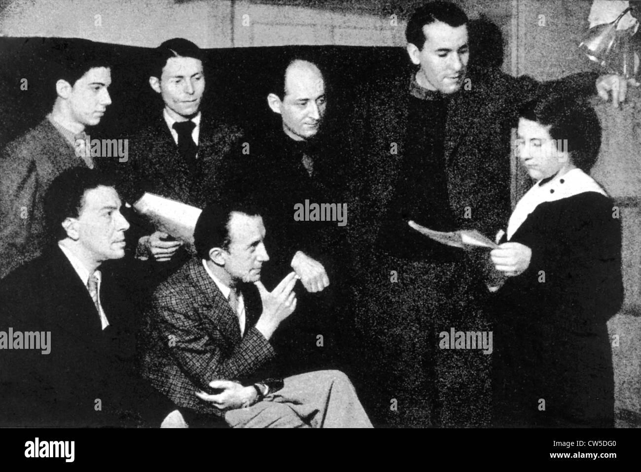 Group surrealists: Jean-Mario Prassinos André Breton Henri Parisot Paul Eluard Benjamin Péret René - Stock Image