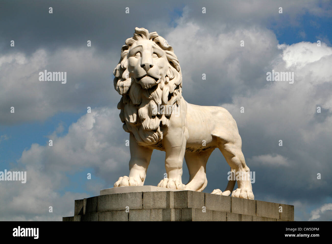 South Bank Lion statue by Westminster Bridge, South Bank, London, UK - Stock Image