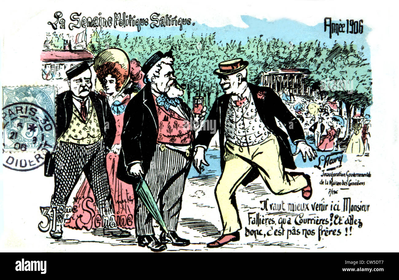 Satirical postcard with Armand Fallières (1841-1931) about the strike at Courrières - Stock Image