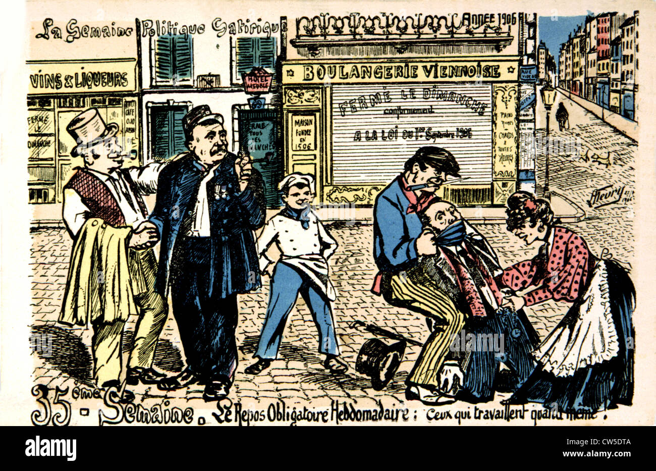 Satirical postcard about the strikes - Stock Image