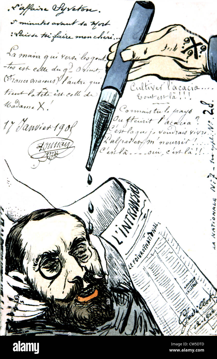 Satirical postcard about the cards affair. Below, caricature of Alfred Dreyfus - Stock Image