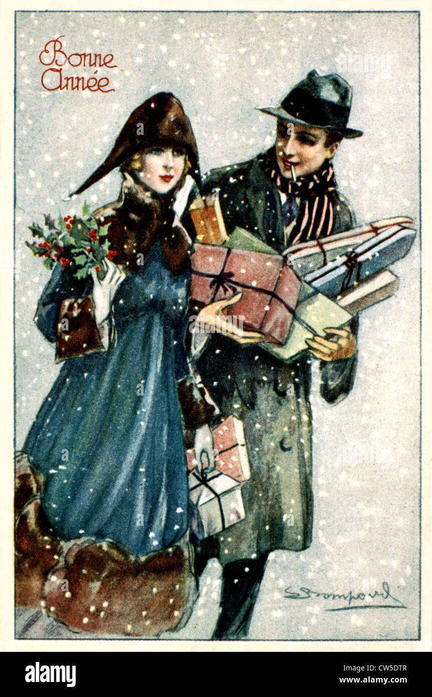 Season's greetings card - Stock Image