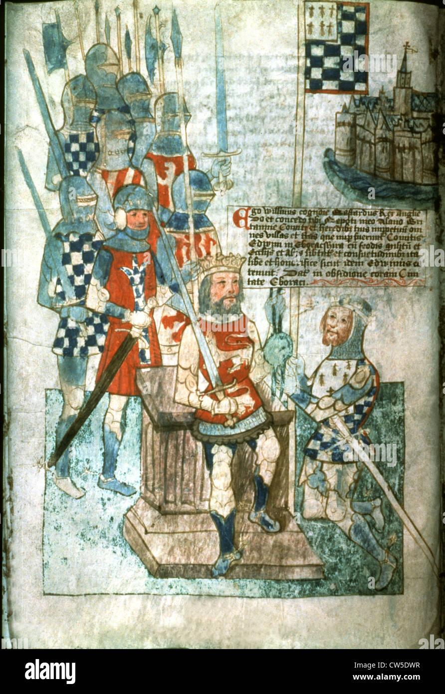 Miniature. William the Conqueror investing Earl Alain of Brittany - Stock Image