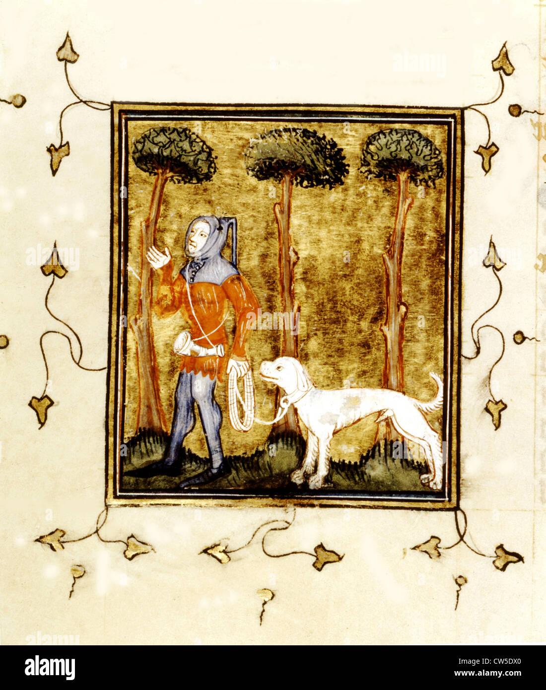 Miniature from the 'Livre du roi Modus' (King Modus's book). Hunter. - Stock Image