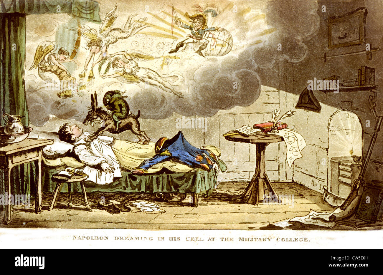 British satirical cartoon. Bonaparte dreaming in his cell at the Ecole Militaire (French military school) - Stock Image