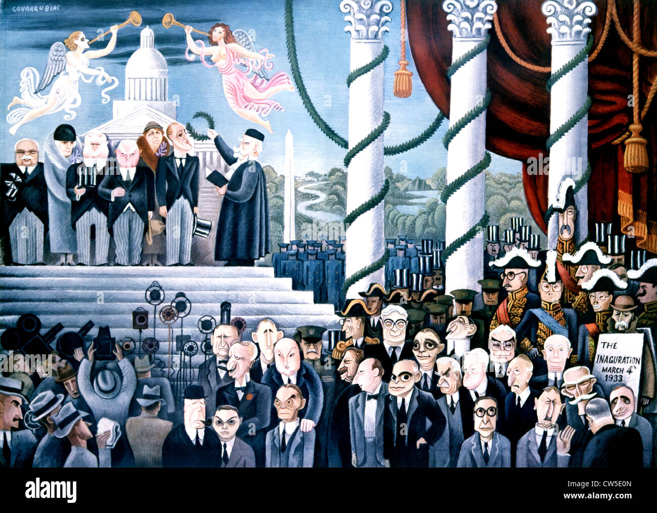 Newly elected President Franklin D Roosevelt appearing on steps Capitole Caricature Miguel Covarrubias published - Stock Image