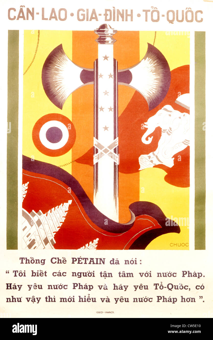 Indo-Chinese propaganda poster for the Vichy government, by Chuoc - Stock Image