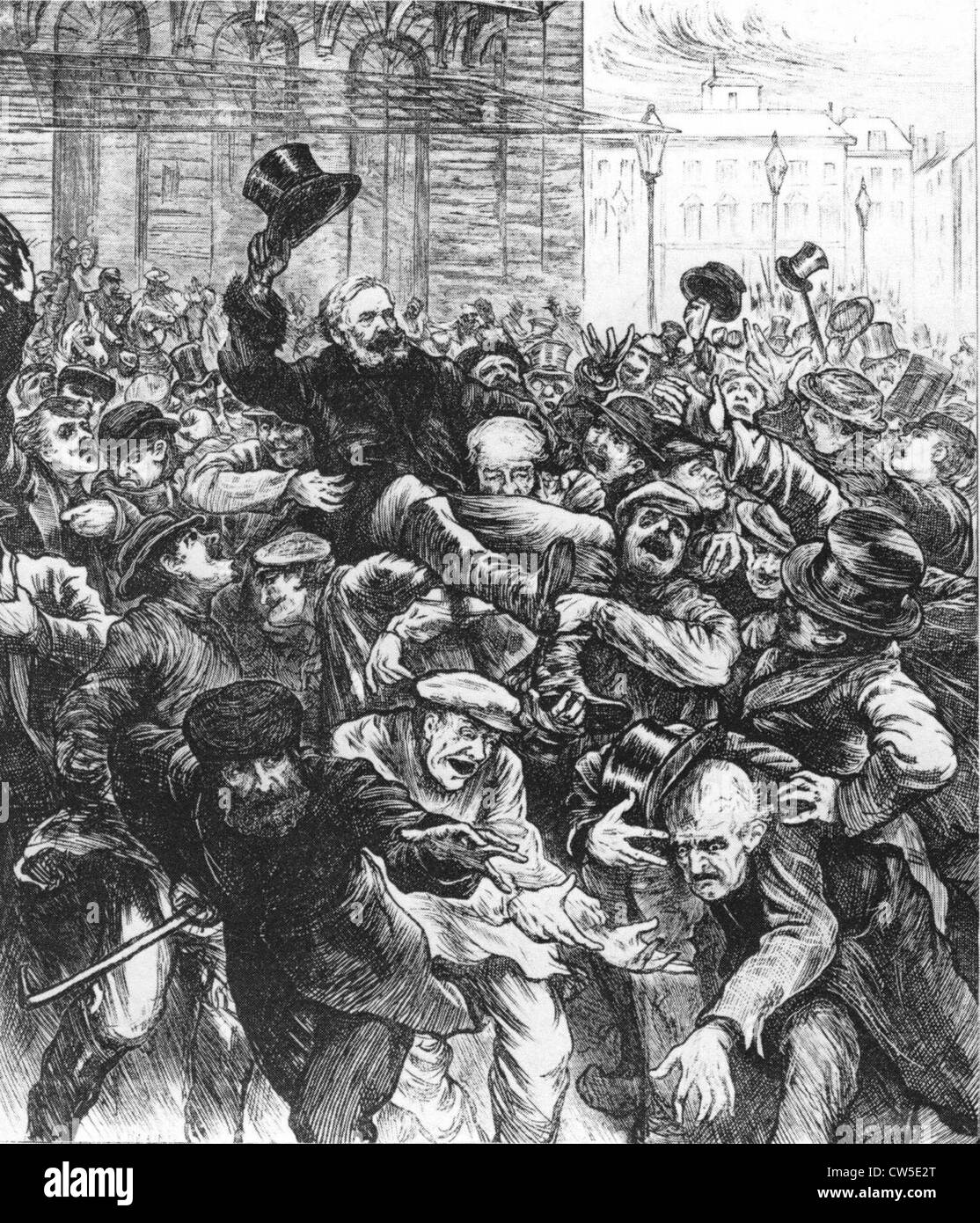 Swain popular members National Assembly acclaimed in streets Bordeaux in 'The Illustrated London news' march - Stock Image
