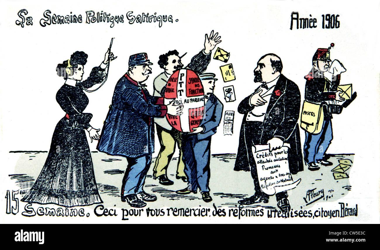 Satirical postcard about strikes - Stock Image