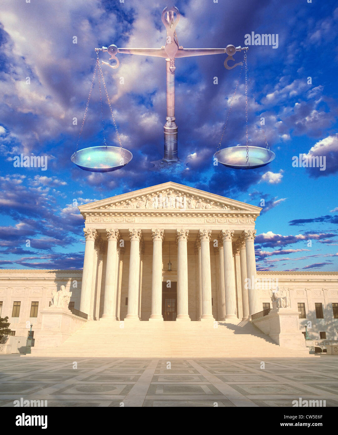 Composite image of the U.S. Supreme Court, Scales of Justice and blue sky - Stock Image
