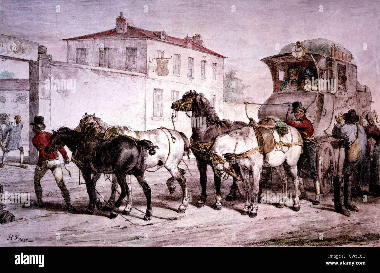 Lithography by Delpech after Vernet: Post house - Stock Image