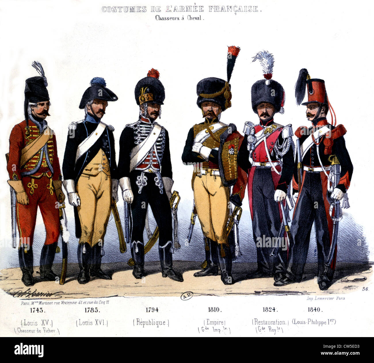 Lithography by Vernier. French army uniforms: cavalrymen from 1745 to 1840 - Stock Image