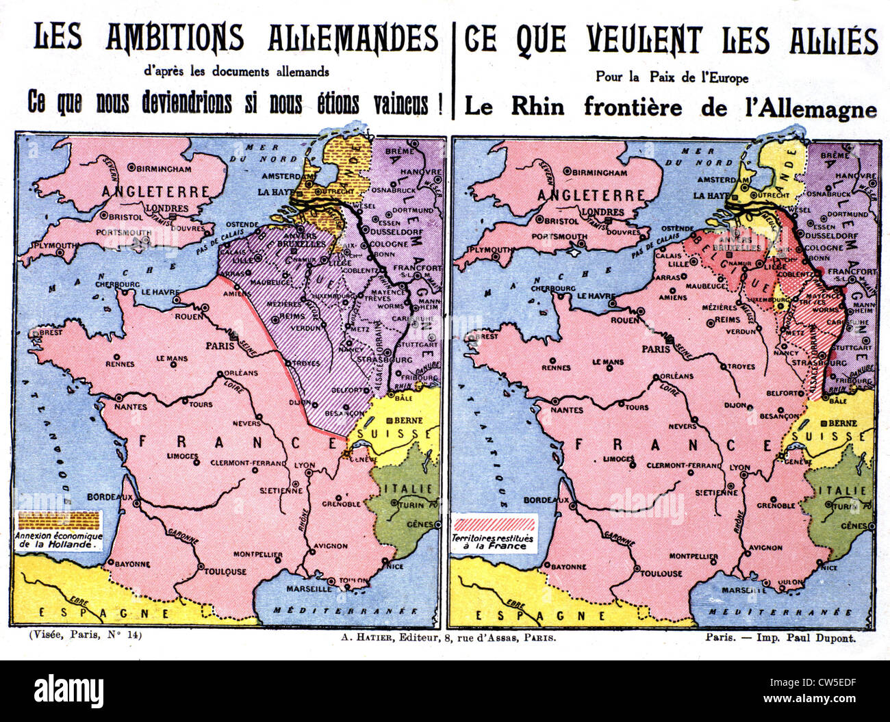 World War I. Postcard printed by the Ligue des patriotes: maps showing German ambitions (1915) - Stock Image