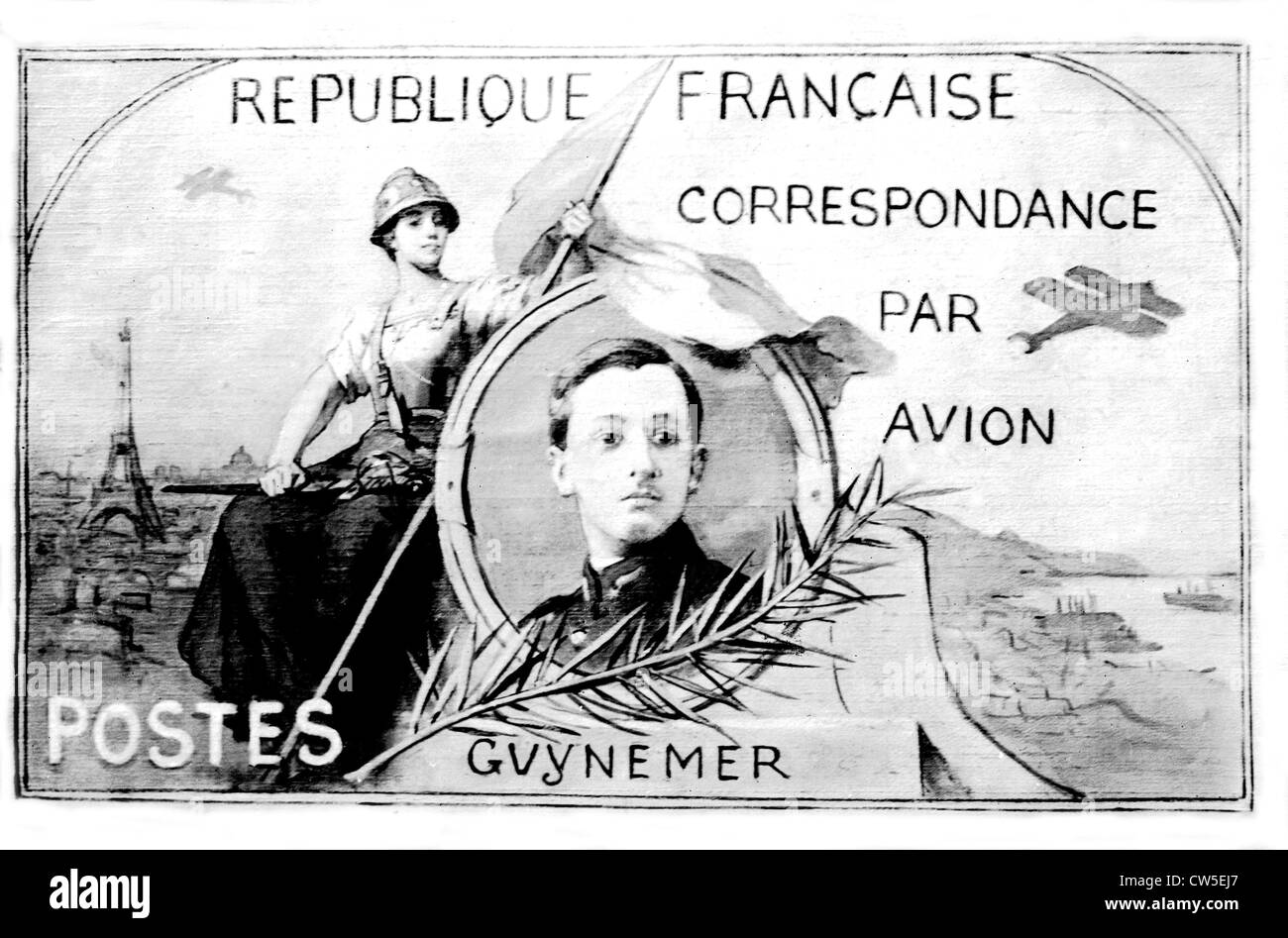 Postage stamp bearing the effigy of French pilote Guynemer - Stock Image