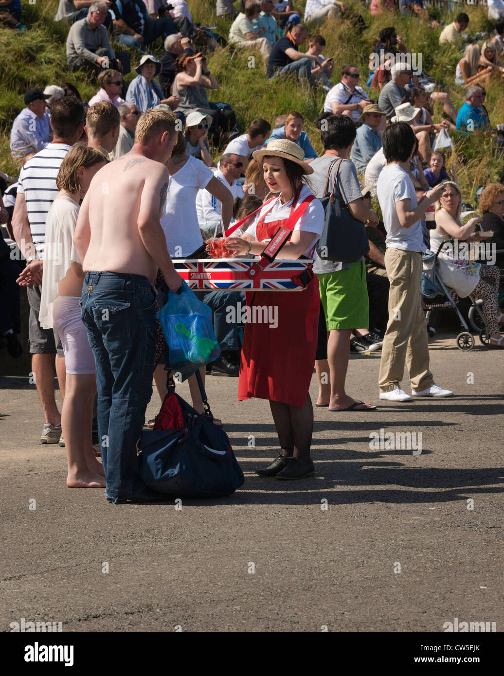 Strawberry seller on an English seaside prom - Stock Image