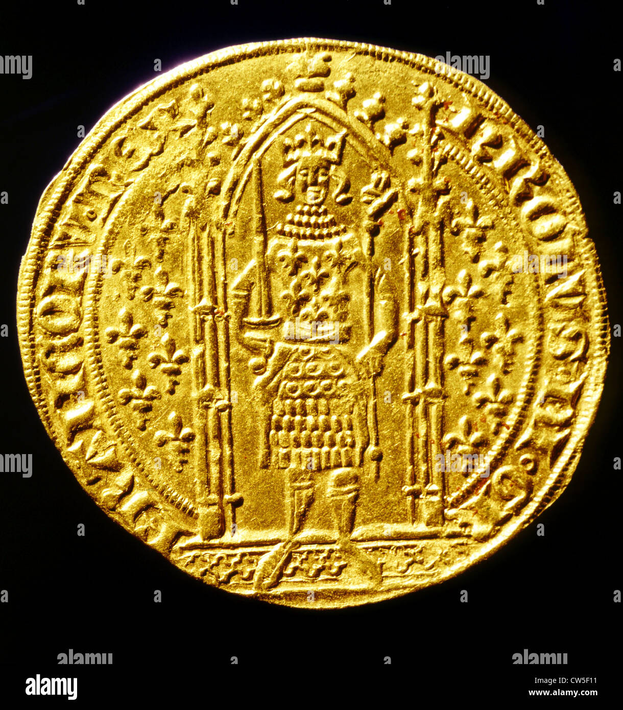Gold medal of Charles V the Wise (1338-1380) - Stock Image