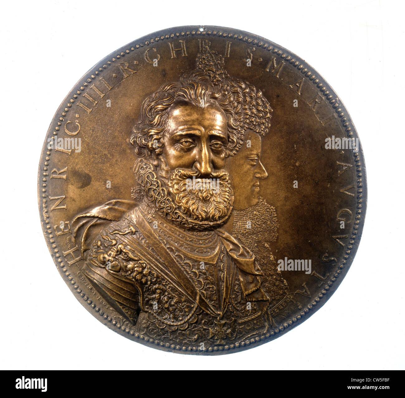 Bronze medal by G. Dupré, Henri IV (1553-1610) and Marie de Médicis (1573-1642) - Stock Image