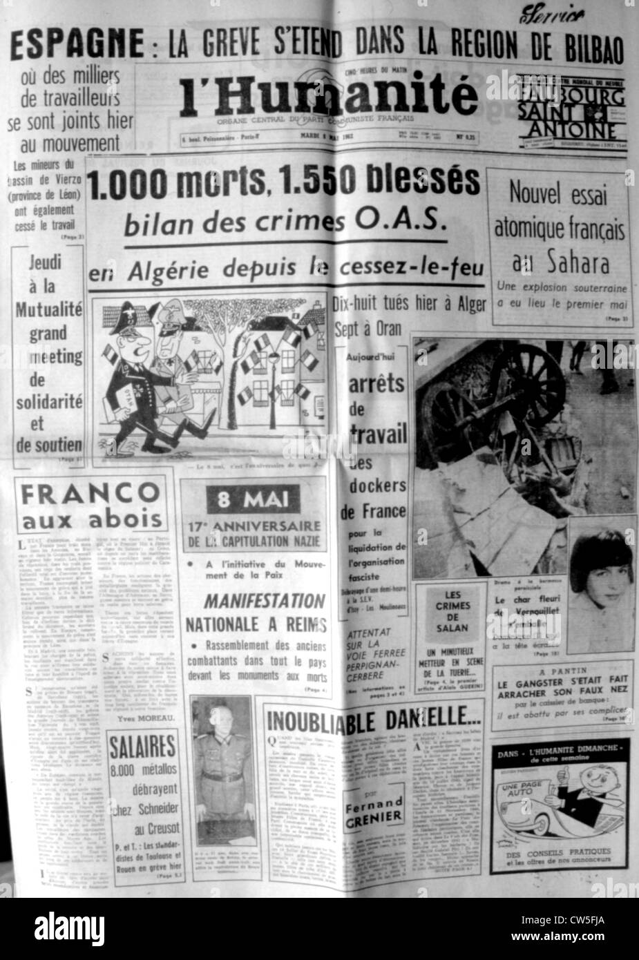 War in Algeria, Front page of the newspaper 'L'Humanité' - Stock Image