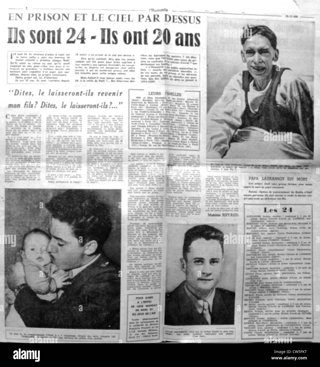 """War in Algeria. Page 6 of the newspaper """"L'Humanité"""", about draft-dodgers Stock Photo"""