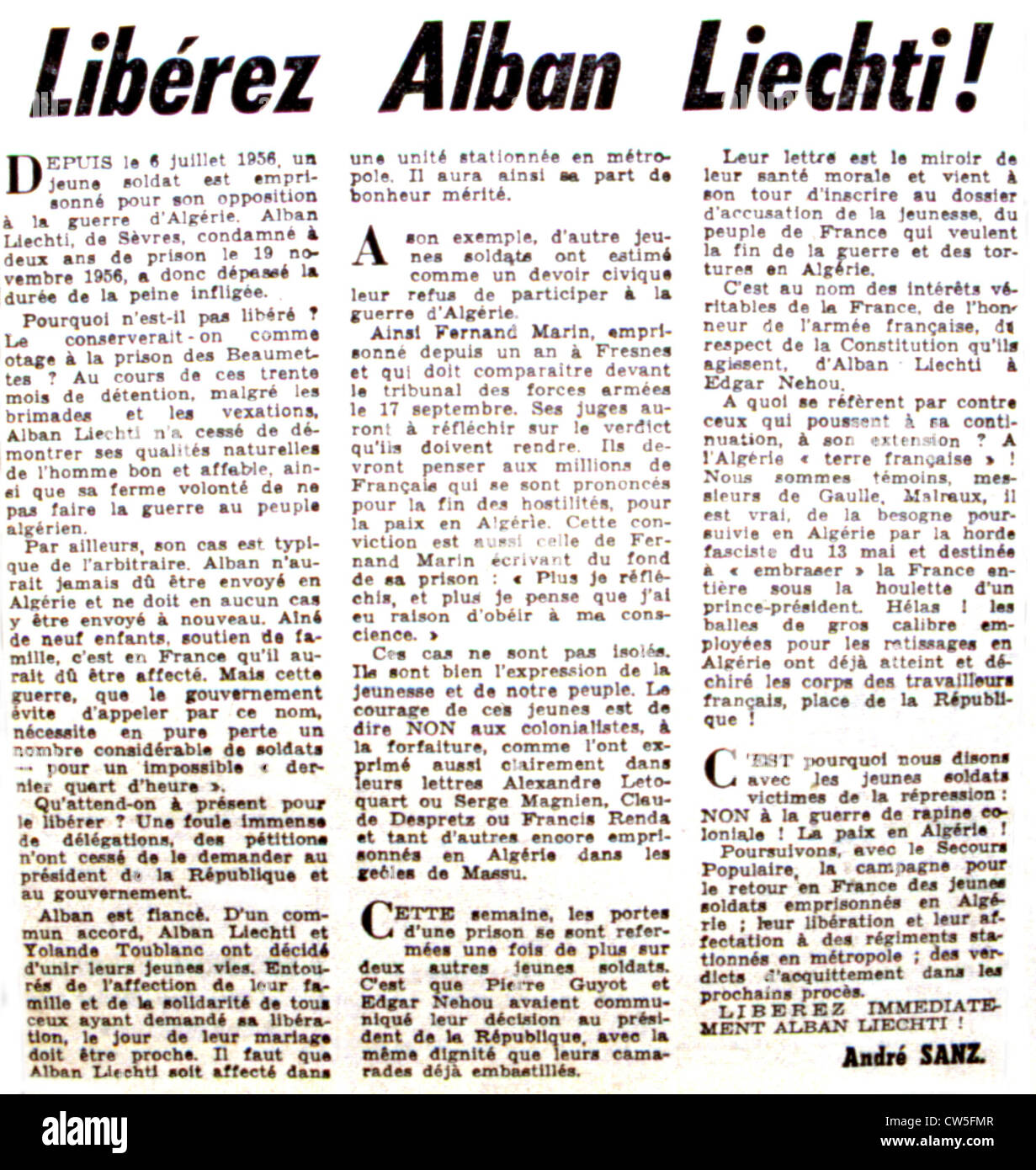 War in Algeria. Page 6 of the newspaper 'L'Humanité', about draft-dodgers - Stock Image