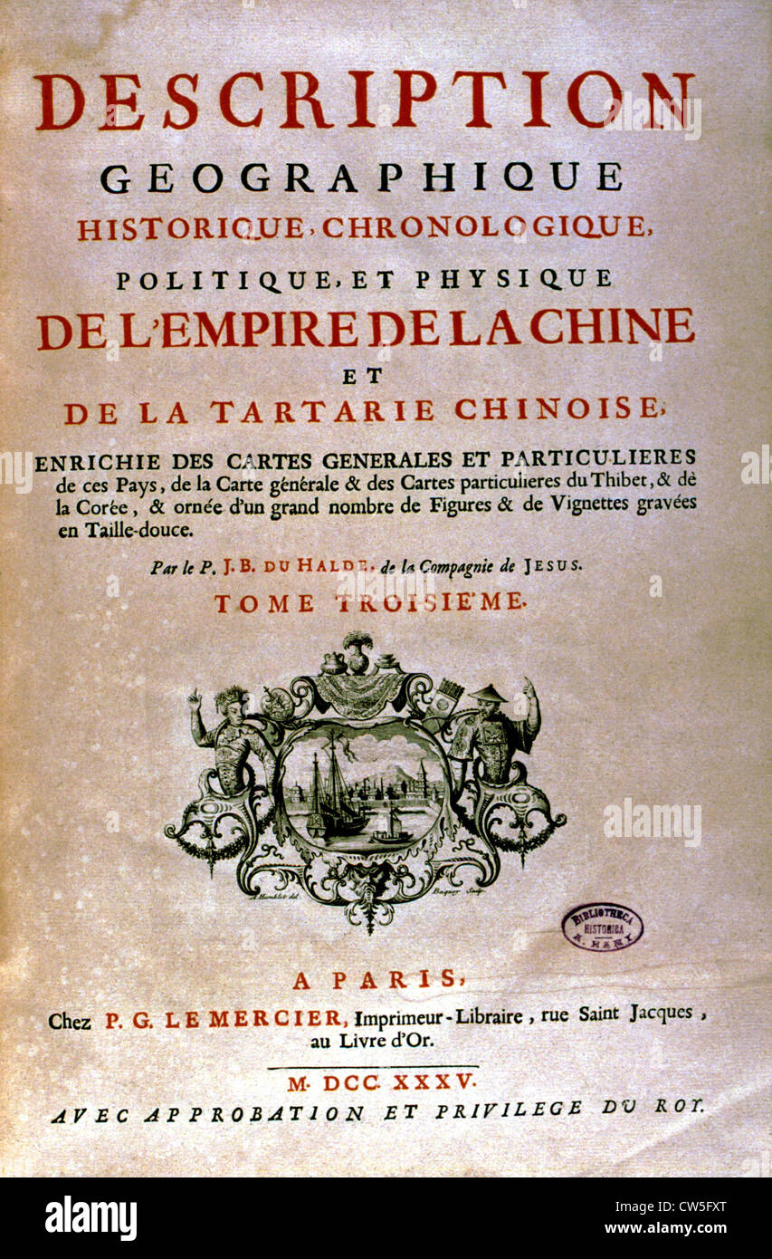 Front page of J.B. du Halde's book on China - Stock Image