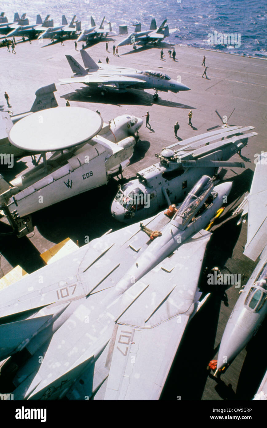 High angle view military aircraft on an aircraft carrier in Red Sea during Operation Desert Storm F-14A Tomcat E - Stock Image