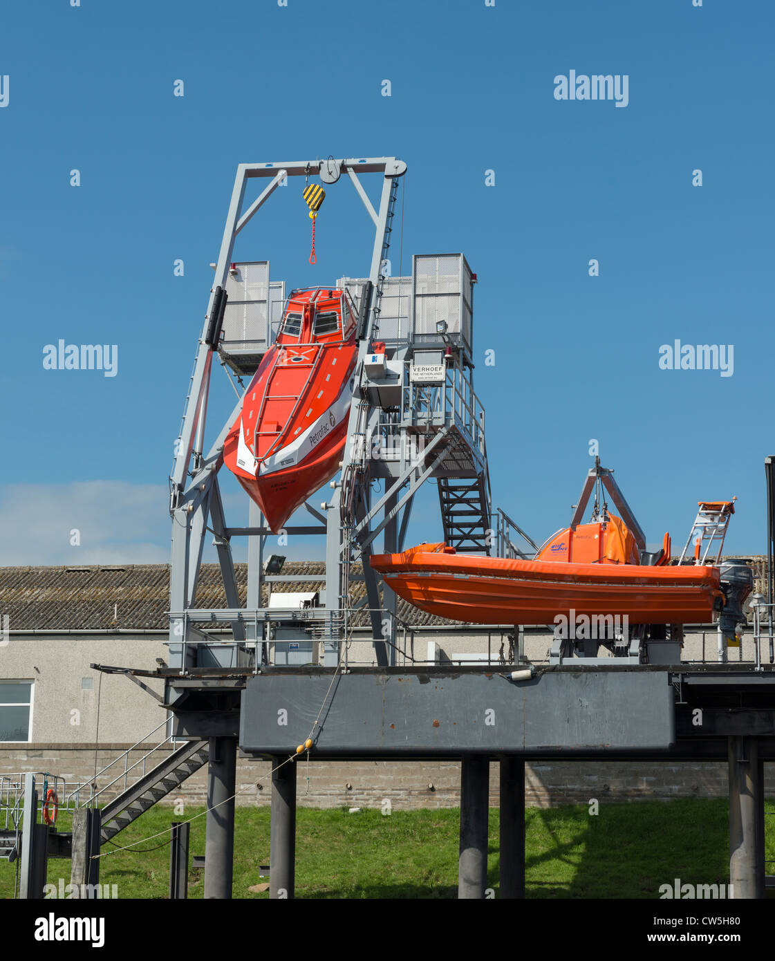 Verhoef Freefall Lifeboat on angled launch platform - Stock Image