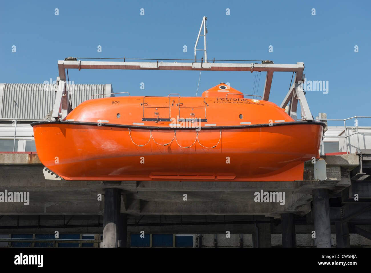 A totally enclosed lifeboat - Stock Image