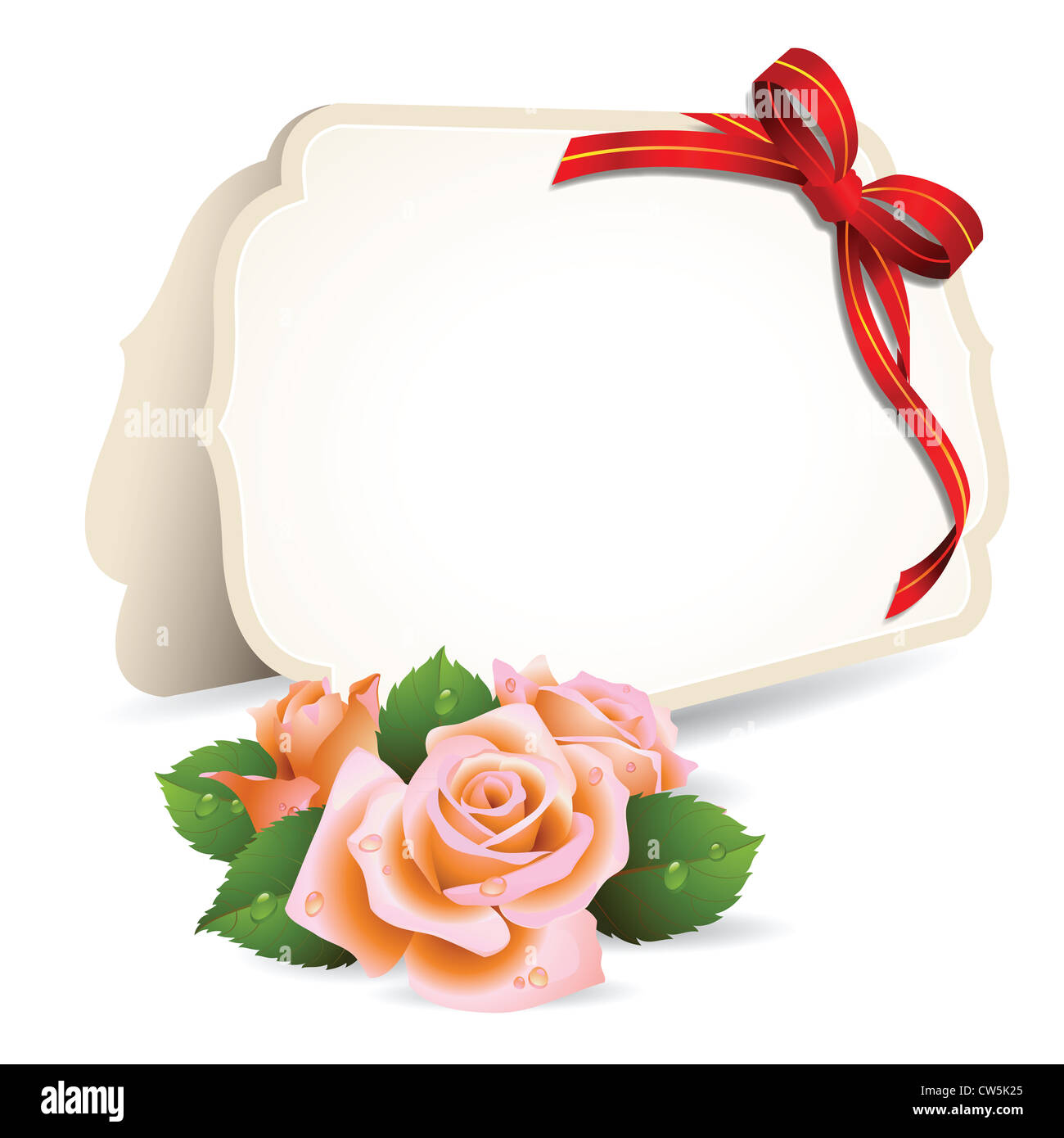 Blank Invitation Card And Roses On Background Stock Photo