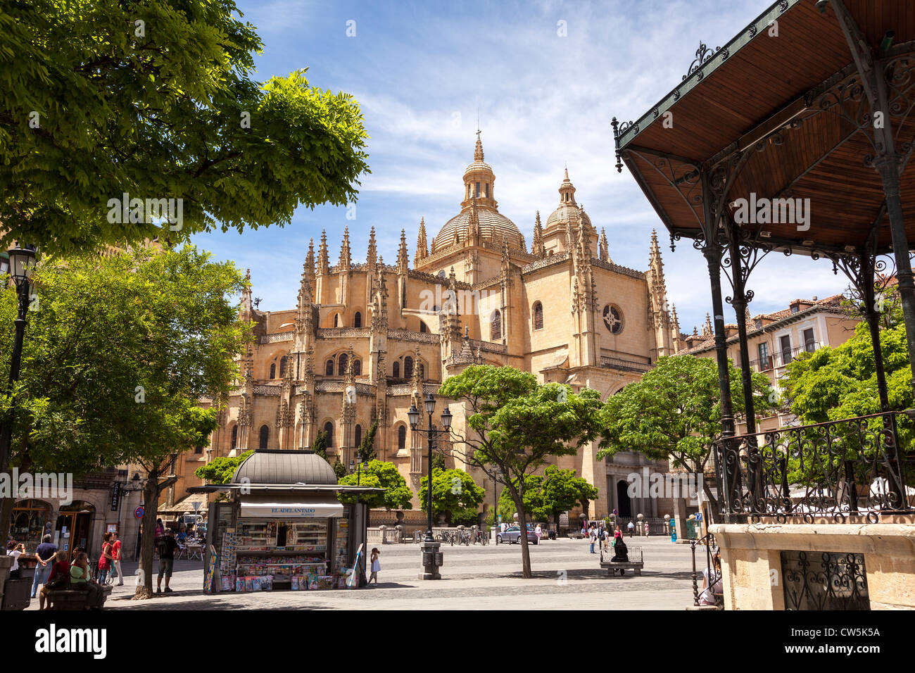 Segovia, Spain, Europe. Skyline view of this beautiful Cathedral building. - Stock Image