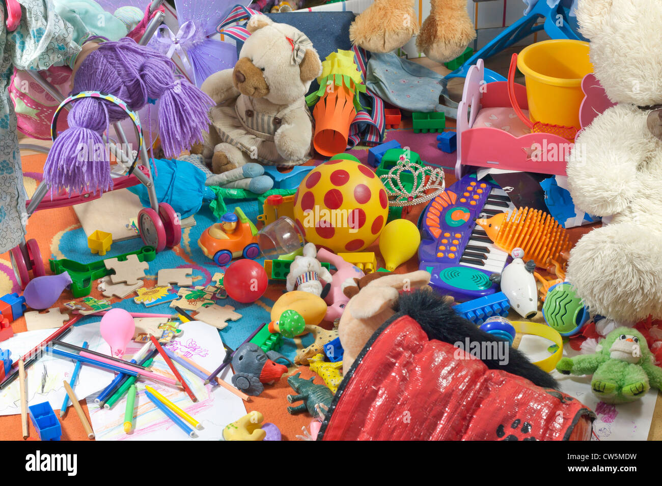 Messy kids room with toys and other accessories Stock Photo ...