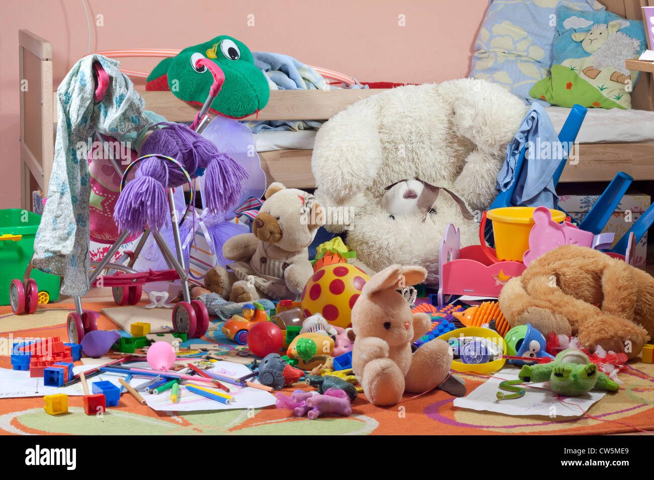 Messy Kids Room With Toys And Other Accessories