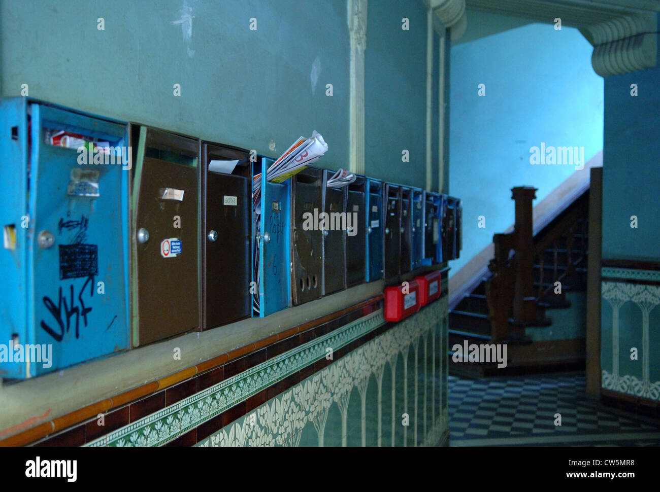 Berlin, entrance with mailboxes - Stock Image