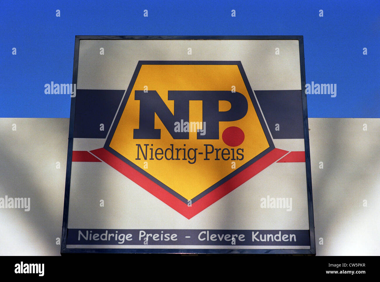 Signs with logo of the trade chain Low Price - Stock Image