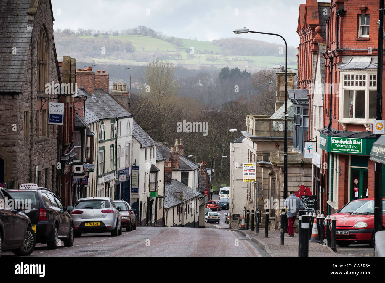 The high Street in St Asaph in Denbighshire, North Wales. It is the UK's smallest city - Stock Image