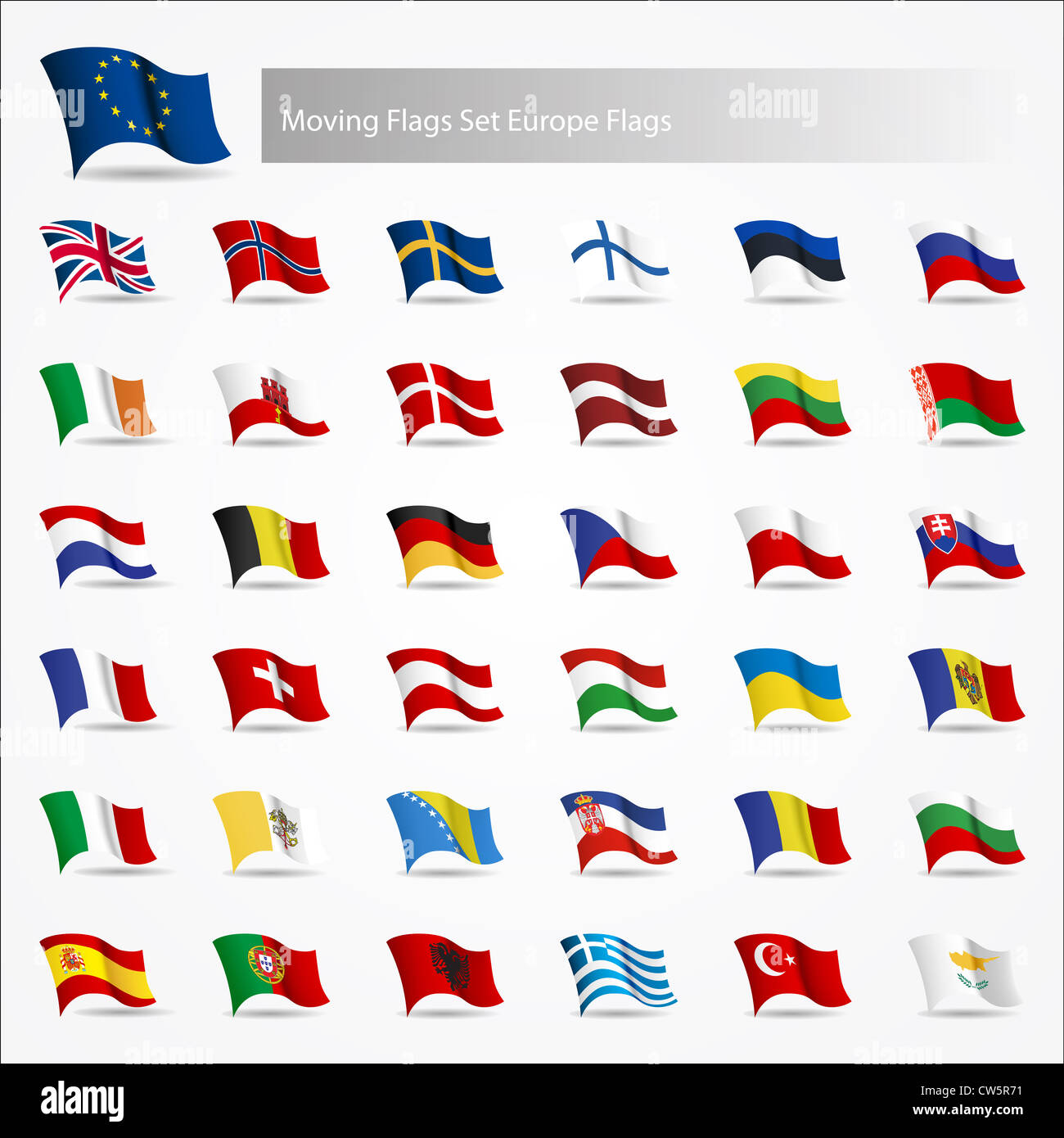 Moving flags set Europe flags on white background - Stock Image