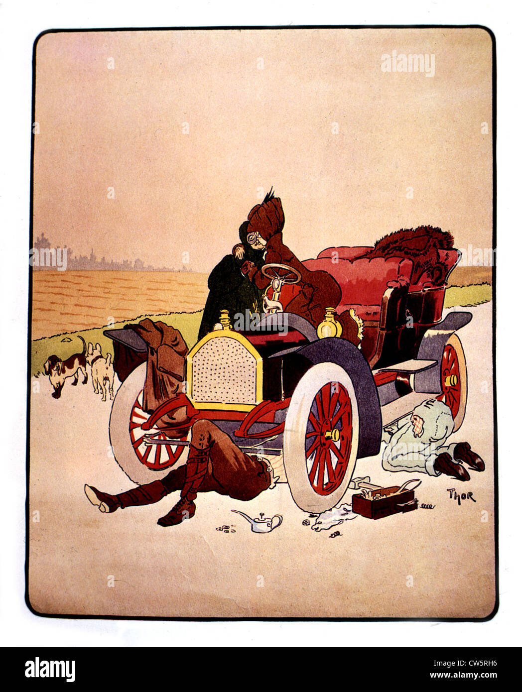 Caricature by Thor about automobile - Stock Image