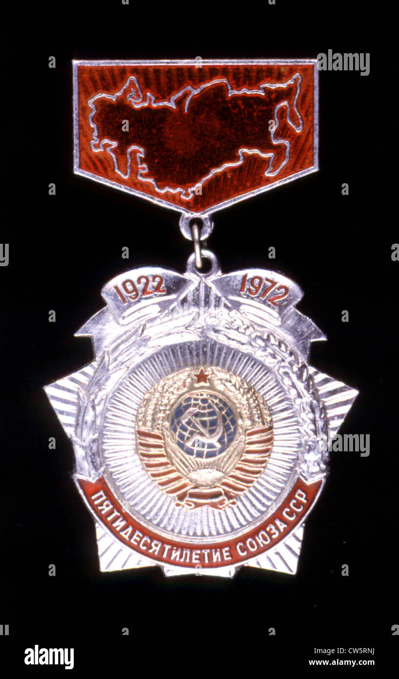 Commemorative medal of the fiftieth anniversary of the creation of the U.S.S.R. - Stock Image