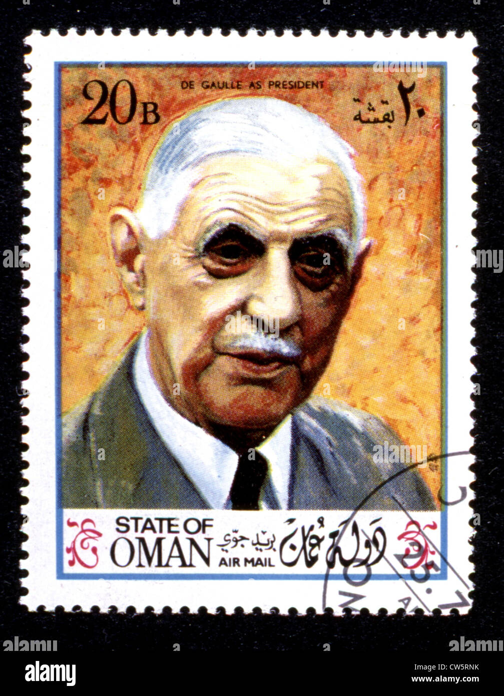 Postage stamp featuring the portrait of General de Gaulle - Stock Image