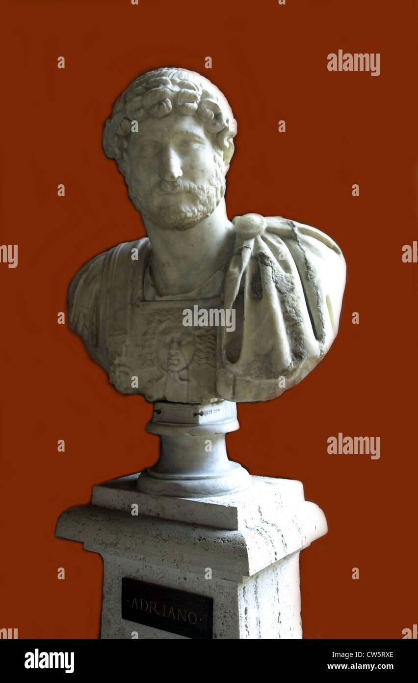 Bust of emperor Hadrian - Stock Image