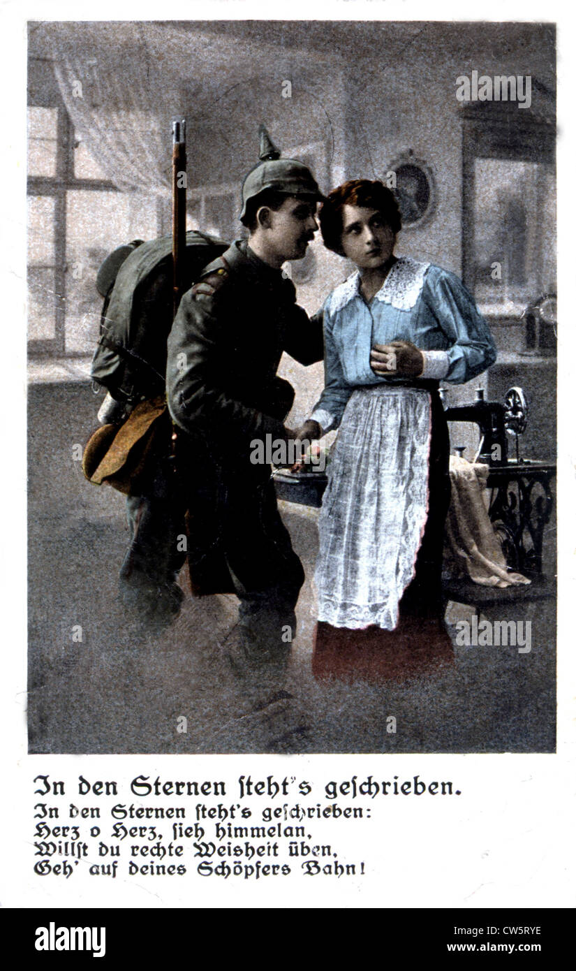 Postcard found on a German soldier killed in Verdun - Stock Image
