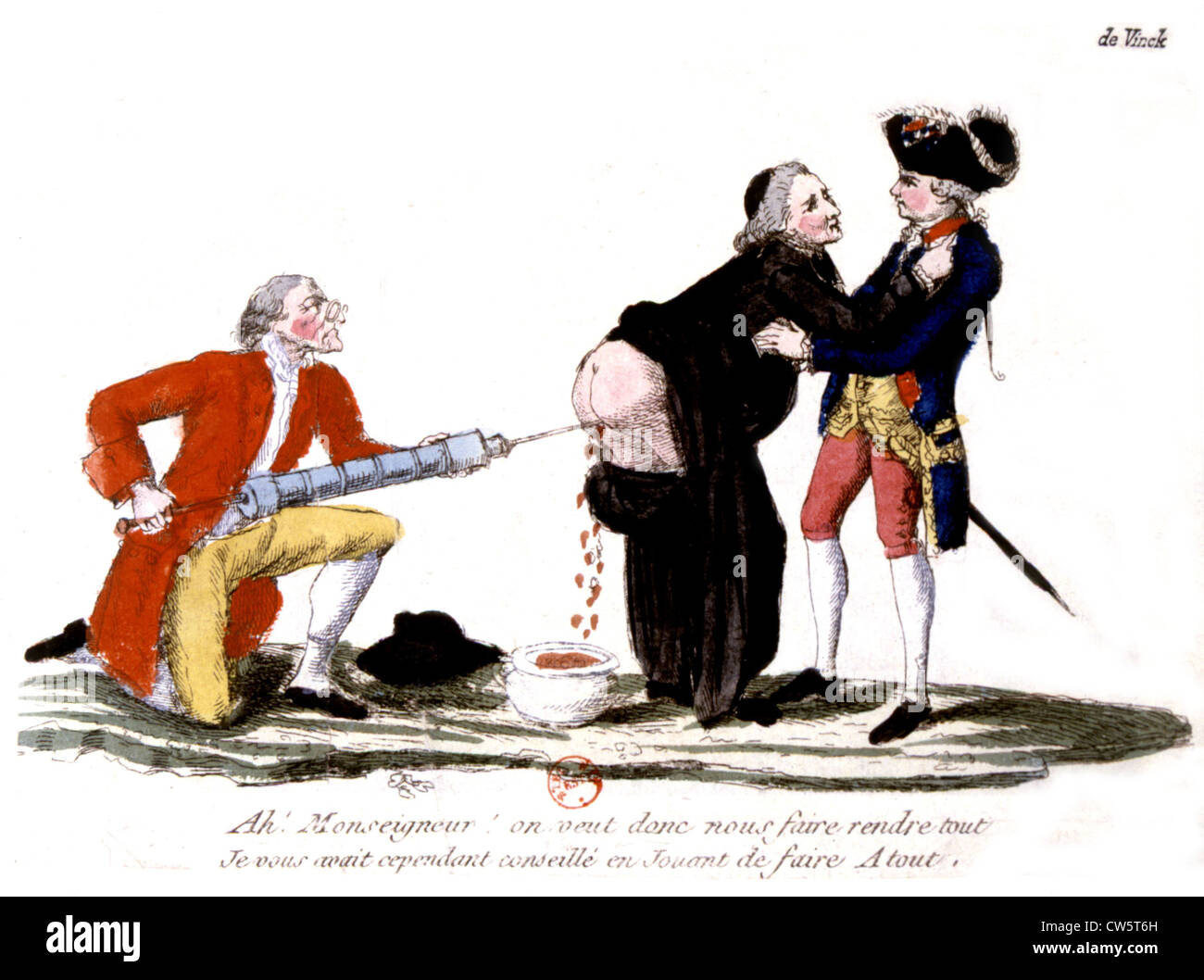 Caricature: Seizure of the Church property - Stock Image