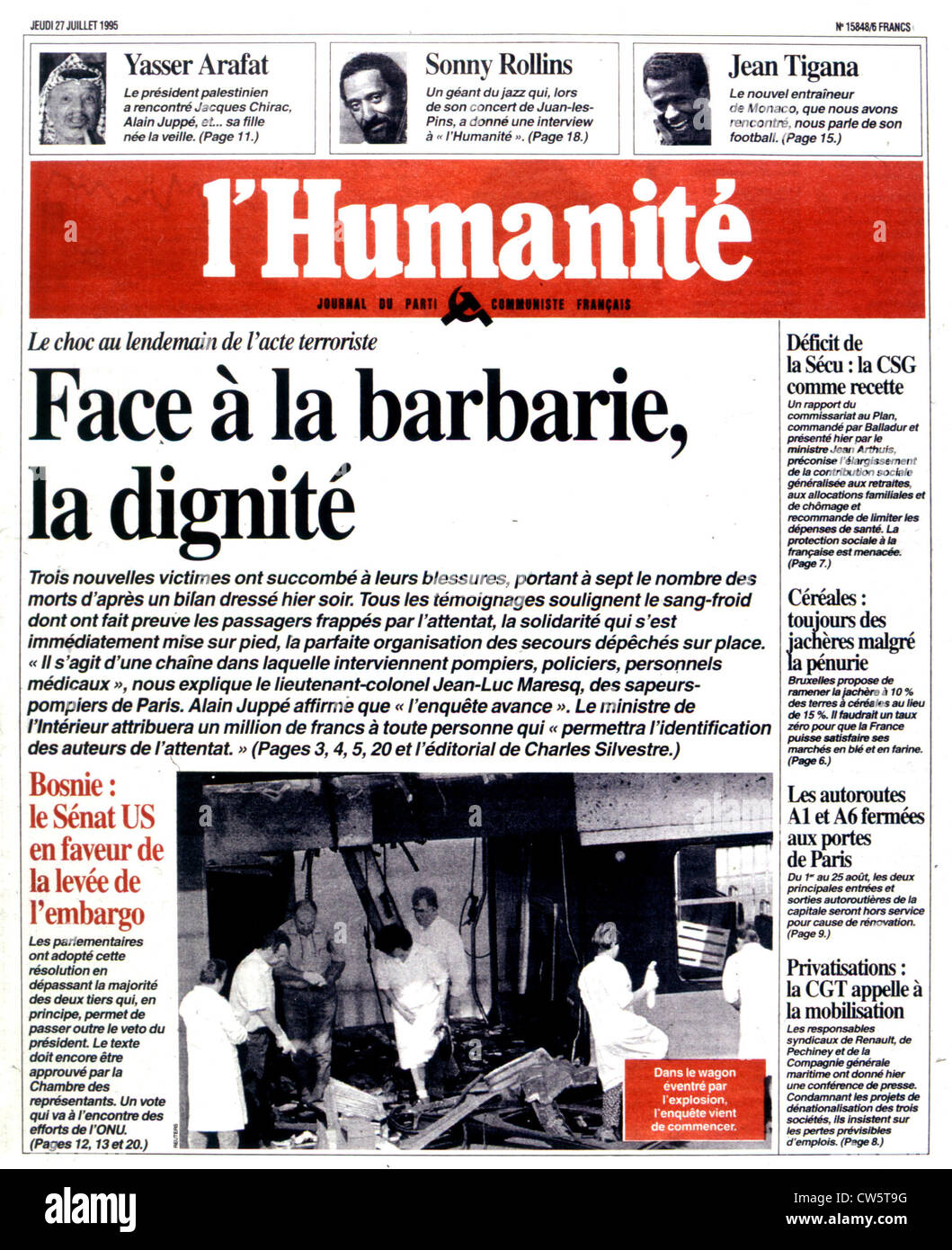 An edition of the newspaper 'L'Humanité'. Paris. After the attack in the R.E.R. at Saint-Michel - Stock Image