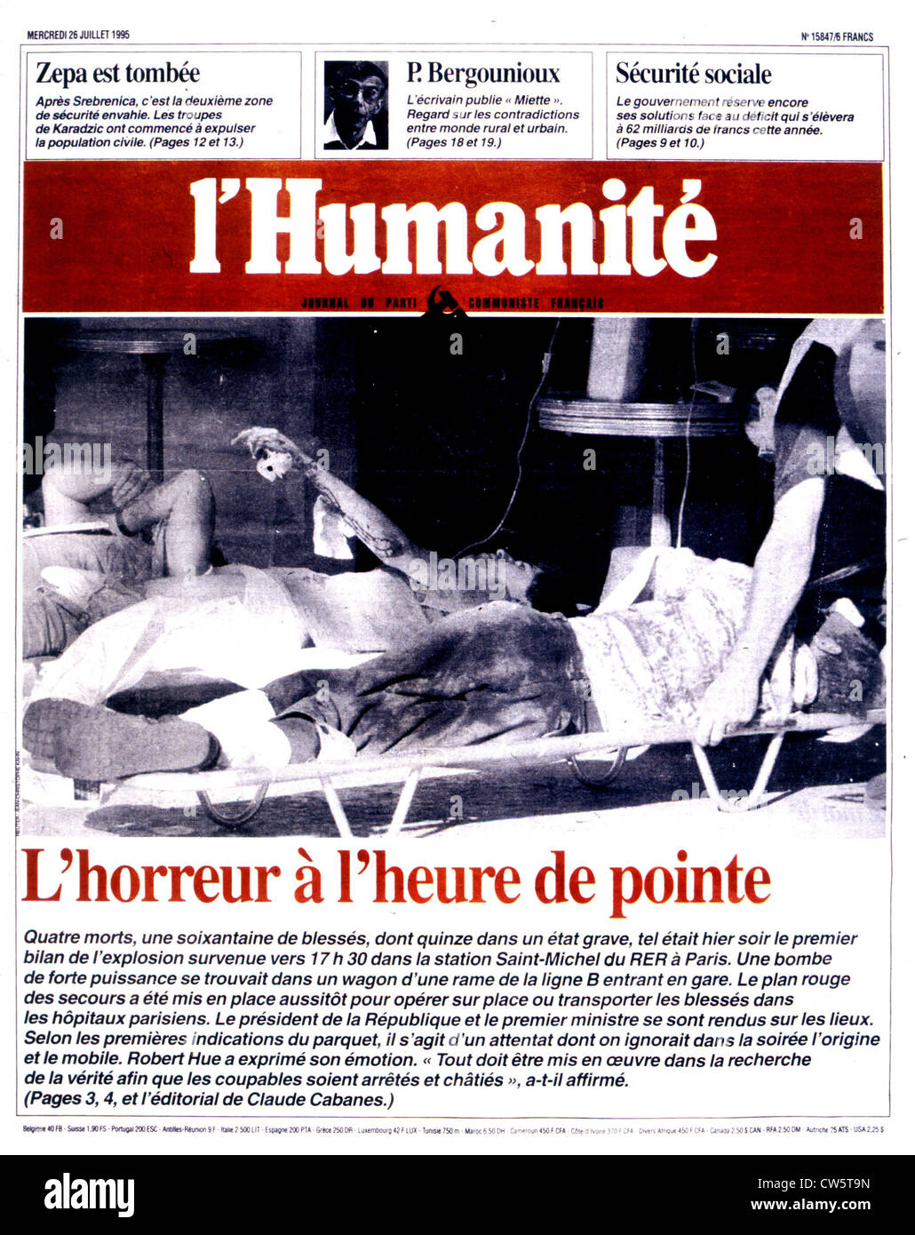 An edition of the newspaper 'l'Humanité'. Paris. After the attack in the R.E.R. at the Saint-Michel - Stock Image