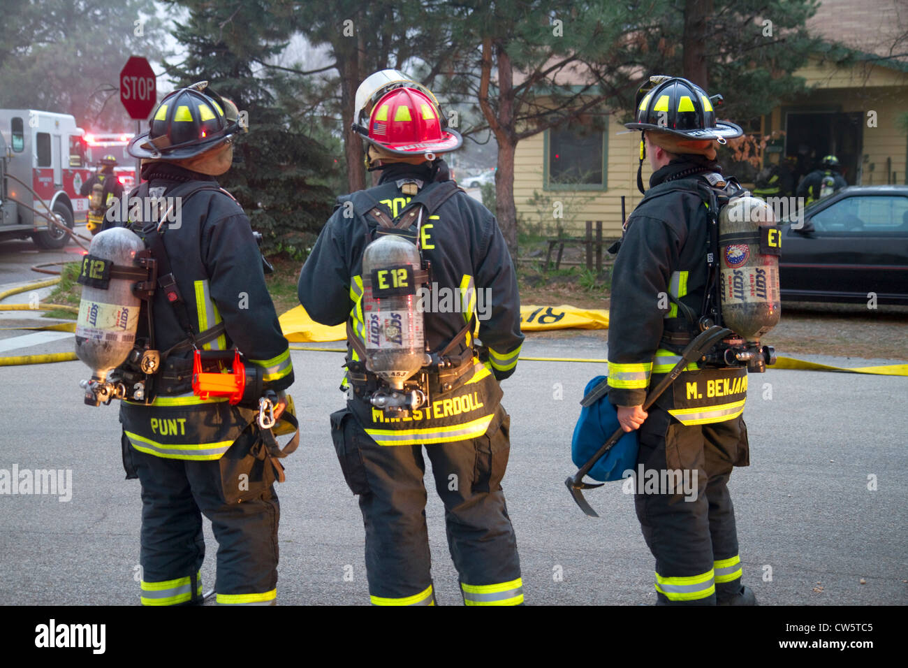 Firefighters respond to an emergency in Boise, Idaho, USA. - Stock Image