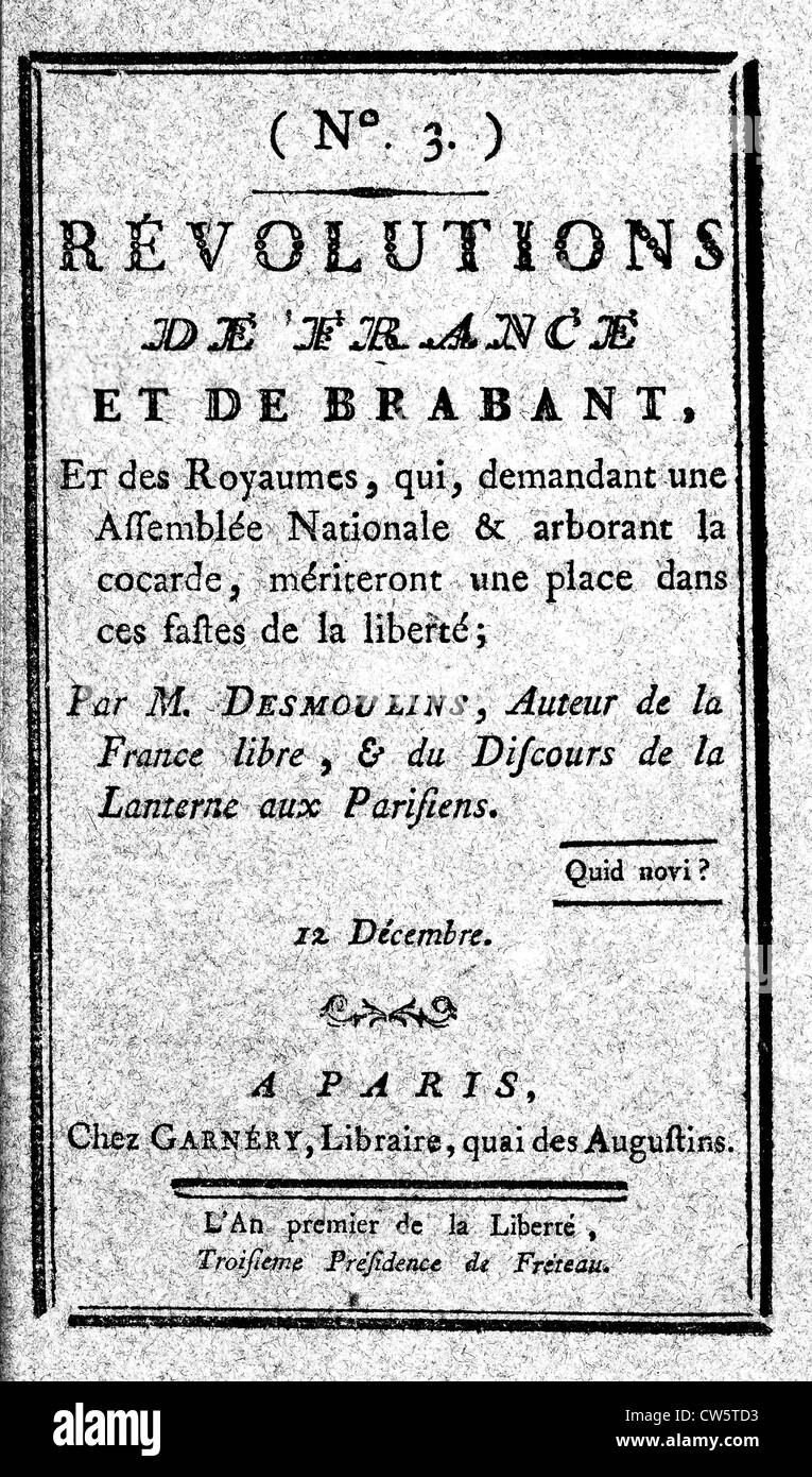 n° 3 of 'Revolutions of France and Brabant', December 12 1789. Publication by Camille Desmoulins - Stock Image