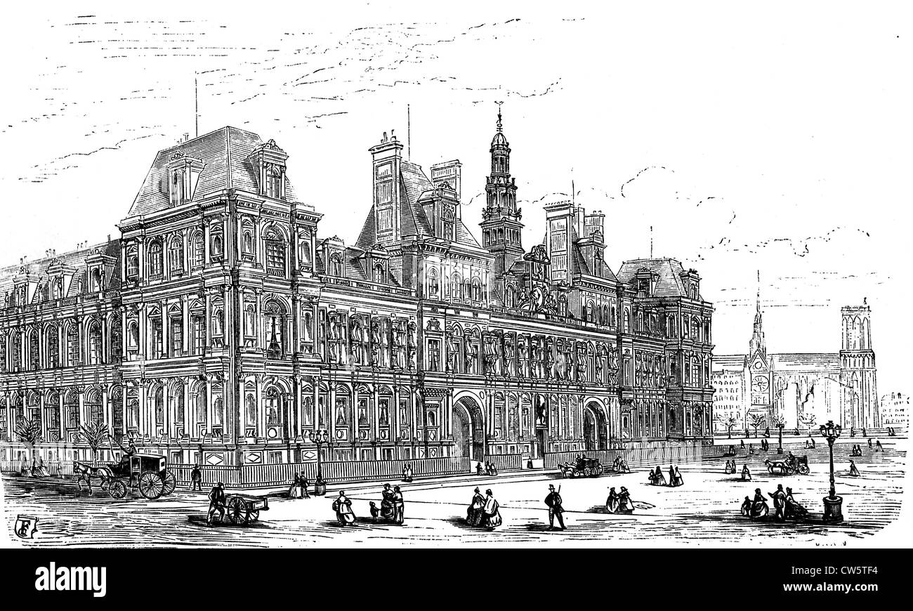 Paris. Town hall. Drawing by M. Fichot, engraved by M. Sotain in 'Paris-Guide', 1867 Edition - Stock Image