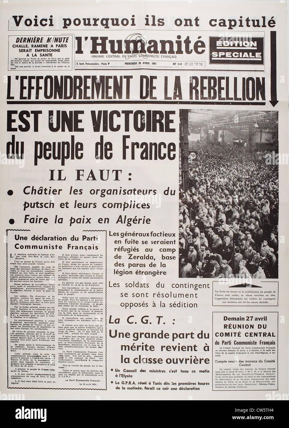 Frontpage of the newspaper 'L'Humanité', April 26, 1961 - Stock Image