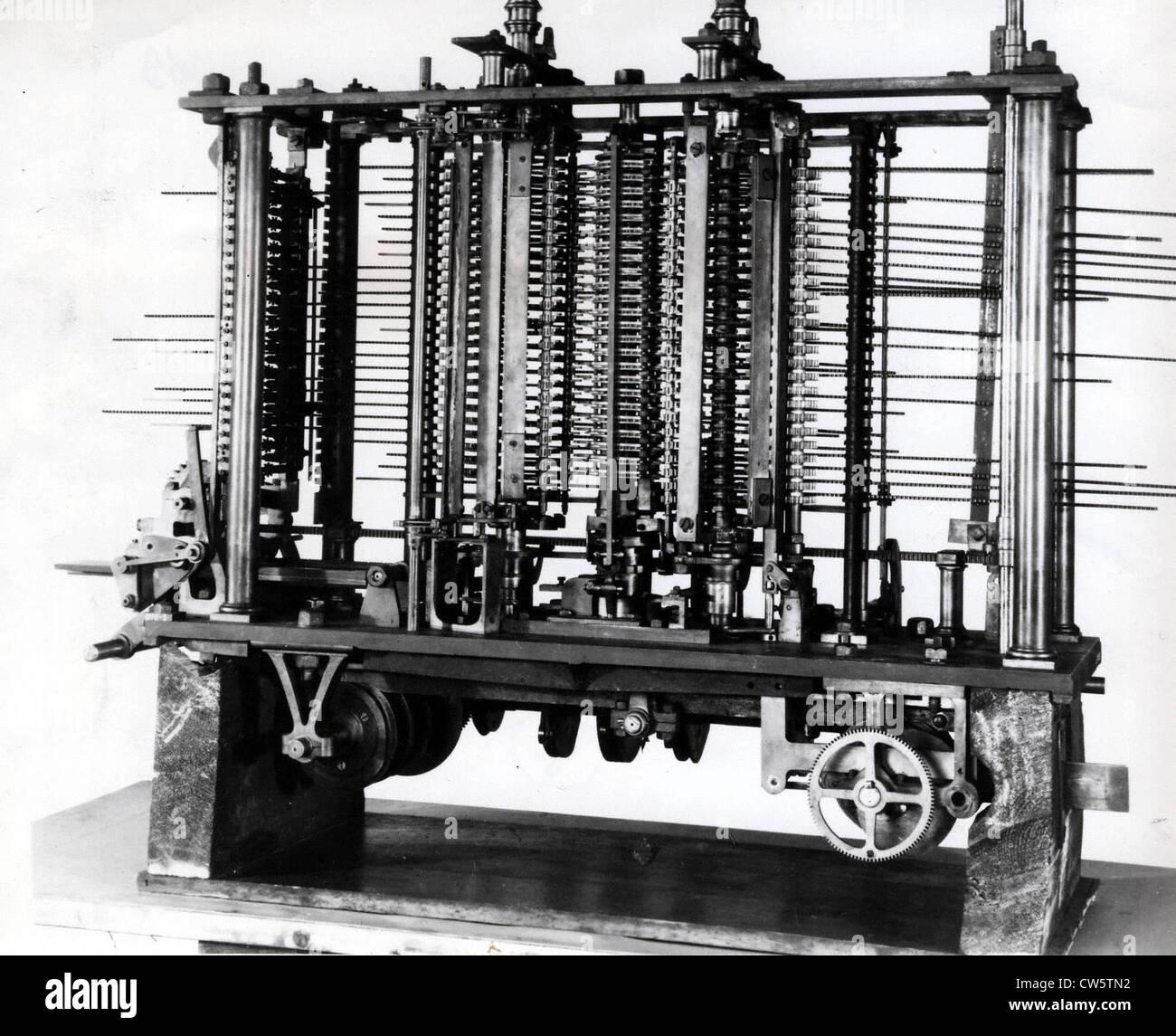 Analytical machine of Charles Babbage - Stock Image
